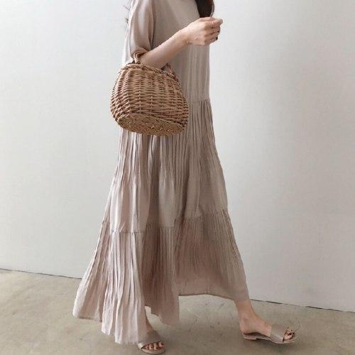 All-match Temperament Elegant O Neck Short Sleeve Pleated Dress Women Loose Vintage Korean Chic Fashion Clothing Summer