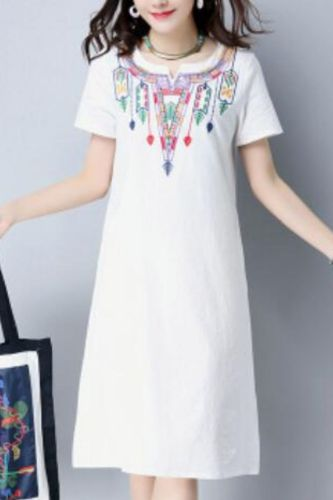 Women Embroidery Embroidered Dress Ladies Blouse Beach Summer Vintage V-Neck Floral Loose Casual  Linen  Dresses
