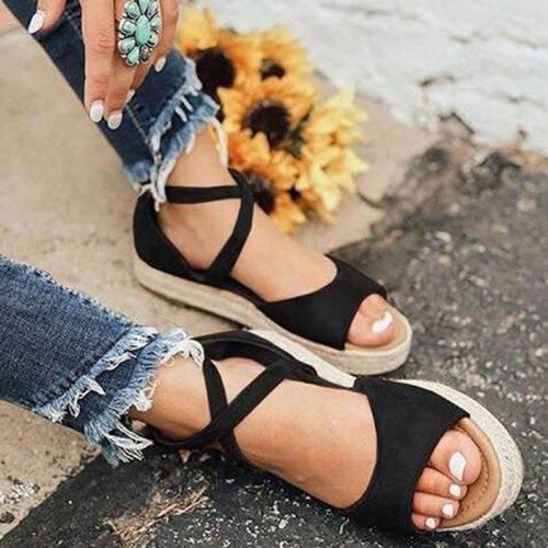 2021 Women Sandals Woman Platform Peep Toe Female Gladiator Flats Ladies Zipper Shoes Women's Comfortable Plus Size Summer