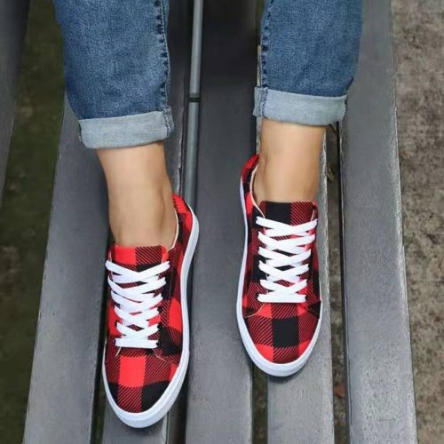 2021 New Canvas Flat Shoes Women Sneakers Casual Grid Leopard Flats Simple Classic Lace-up Spring Shoes Female Plus size