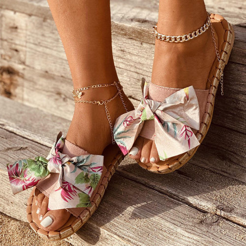 Women Sandals 2021 New Colorful Summer Shoes For Women Soft Bottom Slippers Bowknot Flat Sandalias Mujer Casual Flops Women