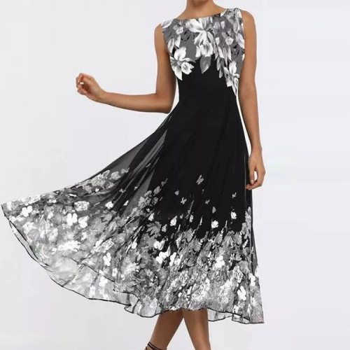 Fashion Butterfly Floral Print Long Dress 2021 Spring Elegant O Neck A-Line Party Dress Summer Sleeveless Tank Dresses Vestidos