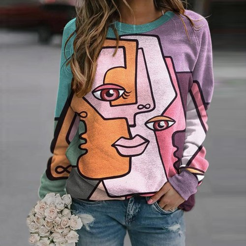 Abstract Print Women Tshirts Long Sleeve O-neck Gradient Pullover Tops Ladies T-shirt Camisas De Mujer Plus Size T Shirt Women