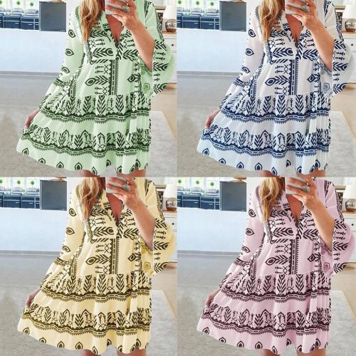 Women Long Sleeve Dresses Summer 2021 Print Flared V Beachwear Dress Mini Dresses Loose Beach Casual Deep Dress Sleeves Par E7X0
