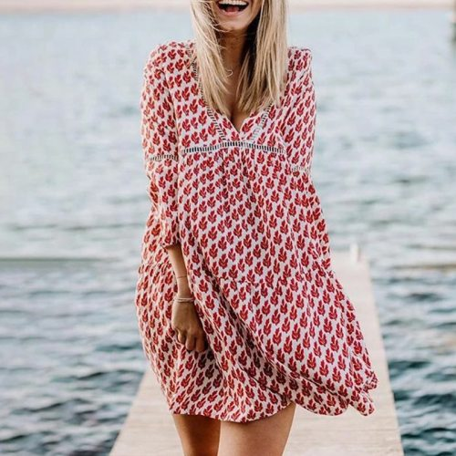 Sexy V Neck Floral Print Summer Beach Dress Women Fashion Flare Sleeve Loose Autumn Dress Elegant Hollow Out Vintage Party Dress