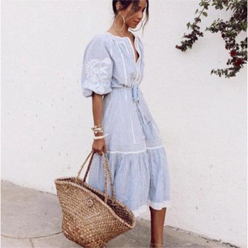Women Fashion Stripe Puff Sleeve Dress Sweet Bandage Waist V- Neck Single Breasted Holiday Casual Blue Vestido S-XXL