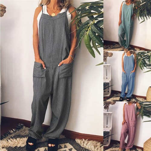 Fashion women romper Cotton and Linen Sleeveless Sling Strappy Striped Print Jumpsuit combinaison pantalon femme été#B40