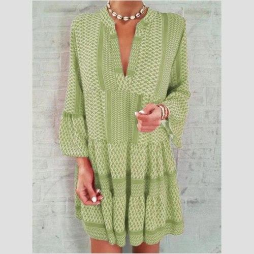 Women Mini Dresses Casual Loose Dress Indie Boho Long Sleece V-Neck Beach Printed Pleated Party Dress Lady Vestidos 2021 Spring