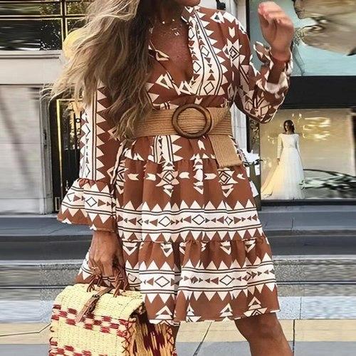 Office Lady V Neck Casual Dress Vintage Elegant Half Sleeve Ruffles 2021 Fashion A-Line Bohemian Style Beach Loose Design Dress
