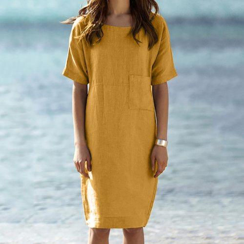 Cotton Linen Women Dresses Short Sleeve Pocket Solid Color Beach Casual Dress Plus Size Women Summer Sundress