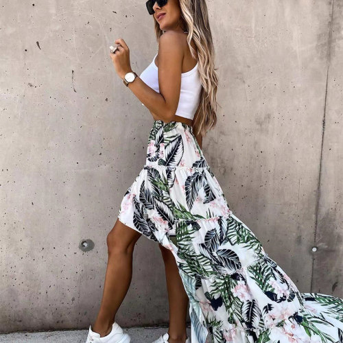 Floral Print Irregular Long Skirts Women High Elastic Waist Casual Style Beach Ladies Skirt 2021 Summer Spring Fashion Bottoms