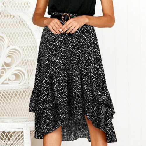 2021 Fashion High Waist Flounce Beach Women Skirts Polka Dot Feminino Summer Skirts Ruffles Asymmetrical Elegant Midi Skirt