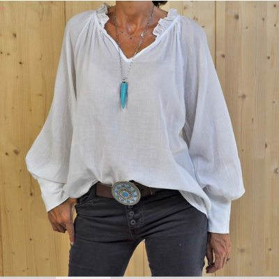 Women's Ruffled V-neck T-shirts Solid Color Pullover Loose Lantern Sleeve Long Sleeve T-shirts Top