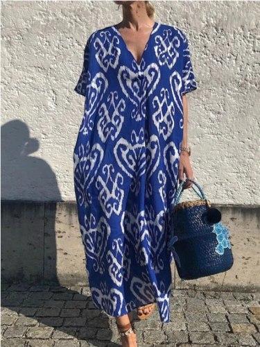 2021 New Summer Women Dress V-Neck Short Sleeve Ladies Dress Print Loose Long Dress Women Bohemian Dress