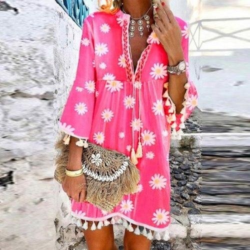 Vintage Women Floral Print A-Line Party Dress Spring Autumn V Neck Lace Up Tassel Mini Dress Elegant Long Sleeve Ladies Dresses
