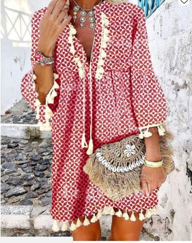 2021 Spring Vintage V Neck Tassel Party Dress Women Elegant Floral Print 3/4 Sleeve Mini Dress Ladies Summer Casual Beach Dress