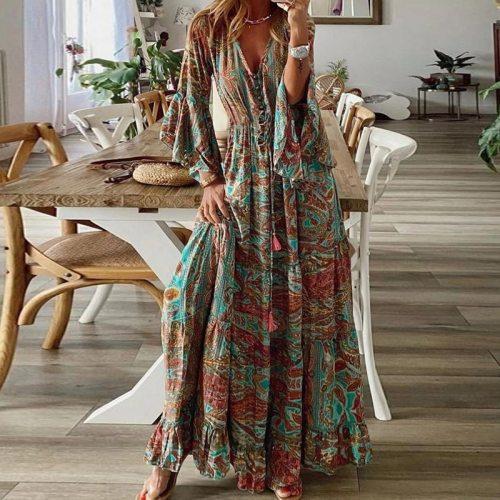 Women Chic Retro Floral Print Boho Dress 2021 Spring 3/4 Flare Sleeve Ruffle Maxi Dress Summer V Neck Button Beach Holiday Dress