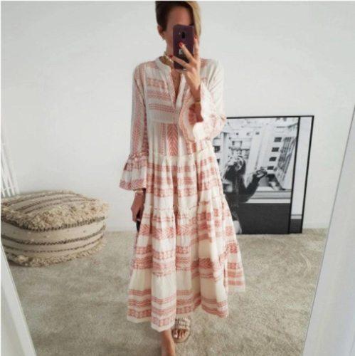 Autumn Women Dresses Summer Casual Loose Ruffle Long Sleeve V Neck Striped Print Bohemain Beach Long Maxi Dresses Femme Vestidos