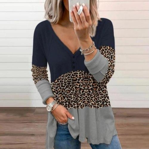 Elegant Print Patchwork Leopard Shirt Blouse Spring Autumn Long Sleeve Women Blusas Casual Button Loose Pullover Tops Streetwear