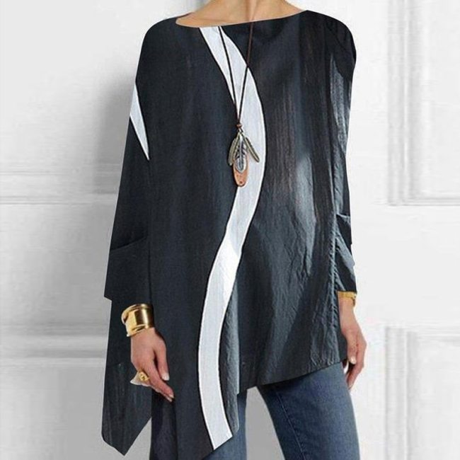 Fashion Ladies Irregular White Splicing Solid Color T-Shirt Spring And Autumn Loose Round Neck Long-Sleeved Top Casual Simple