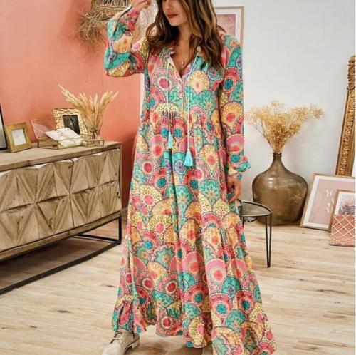 Plus size boho hippie chic verano Women bohemian tassel long sleeve v neck print loose maxi dress 2020 Vintage dress