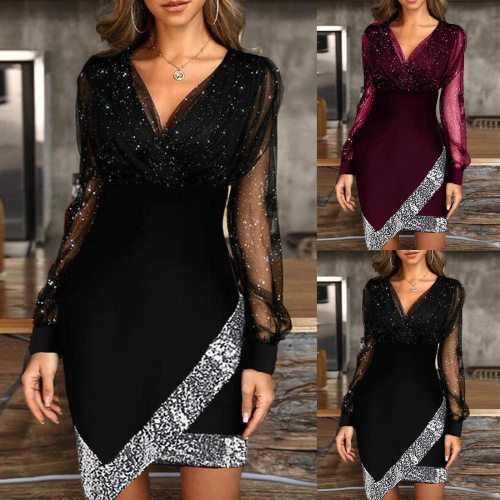 2021 Dress Elegant Spring Autumn Solid Color Sequins Dress Women Fashion V-neck Bodycon Party Dress Sexy Office Lady Slim
