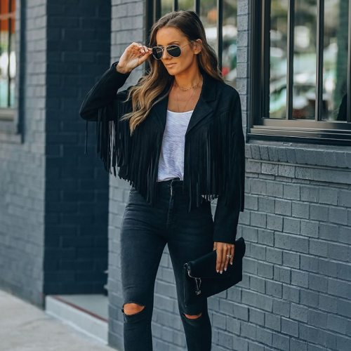 Faux Suede Jacket Women's Motorcycle Lapel Handsome Jacket Fall 2021 Ladies Solid Fringed Short Coat Women Jackets