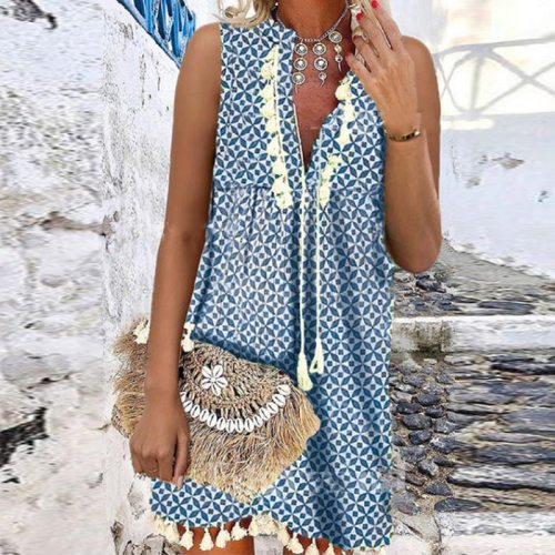 Bohemian Deep V Neck Tassel Office Ladies Dress Spring Geometric Print A-Line Party Dress Women Sleeveless Summer Beach Dresses