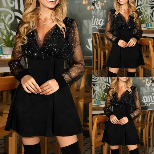 Dress Autumn Clubwear Party-out 2021 Women's Solid Color Sequins Long Sleeve A-line Party Dress