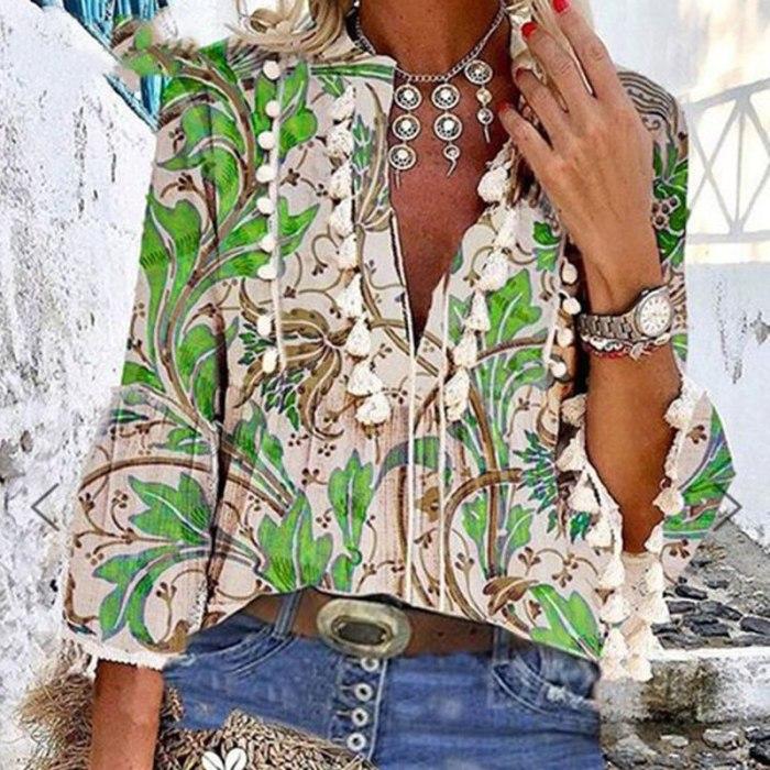 Boho Blouse Elegant V Neck Tassel Women Tops Sexy Three Quarter Sleeve Floral Print Shirt 2021 Spring Autumn Chic Blouses S-2XL