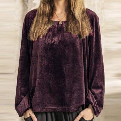 Vintage Elegant Solid O-Neck Sweatshirt Tops Women Auutmn Winter Casual Loose Long Sleeve Pullover Hoodies Ladies 3XL Streetwear