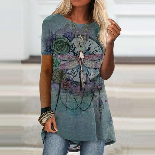Spring Summer New Casual O Neck Cartoon Animal Print T-shirts Loose Short Sleeves Streetwear Vintage Tops Elegant Party Pullover