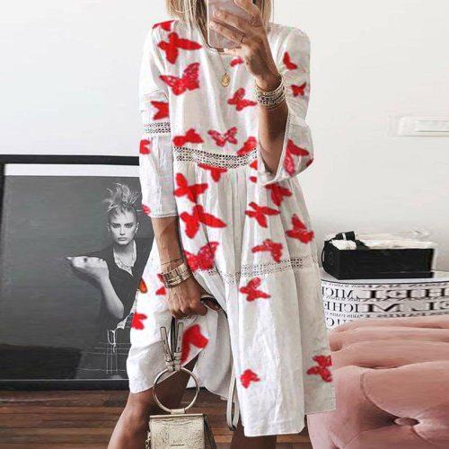 2021 Linen Cotton Dress Women Butterfly Print O Neck Party Dress Summer Three Quarter Sleeve Elegant Plus Size Dresses Vestidos