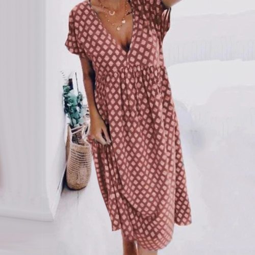 Summer Women Long Dress Boho Short Sleeve Deep V Neck Geometric Print Large Hem Loose Midi Dress