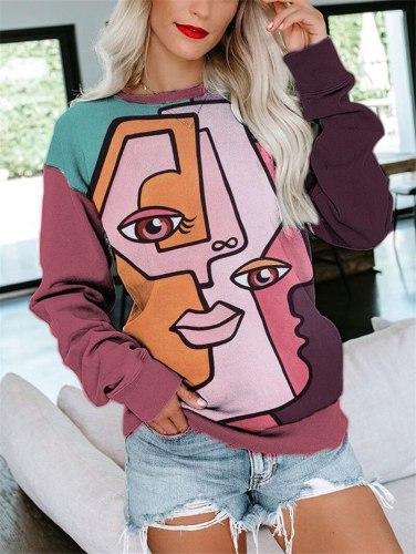 Autumn Graffiti Style Sweatshirt Hoodies Casual O Neck Long Sleeve Pullover Tops Ladies Character Pattern Loose Sweatshirt
