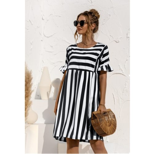 2021 Summer New Fashion O Neck Women's Dress Casual Loose Solid Short Sleeve Ruffle Patchwork Pocket Ladies Stripe Dress