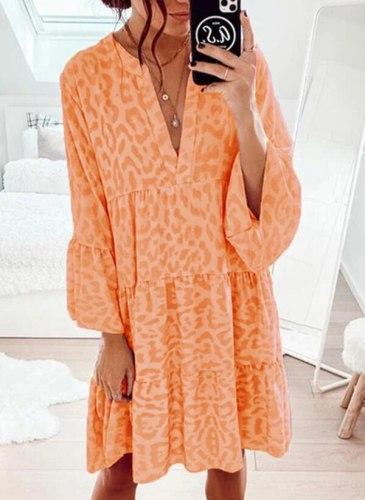 2021 Summer Women's Sexy Dress Outdoor Vacation Casual Print V-neck Mini Beach Dress Holiday Cool Travel Beach Dress