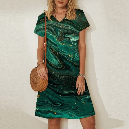 Women Casual V Neck Short Sleeve Party Dress 2021 Summer Art Print Knee-Length Ladies Dress Streetwear Plus Size Femme Dress 5XL