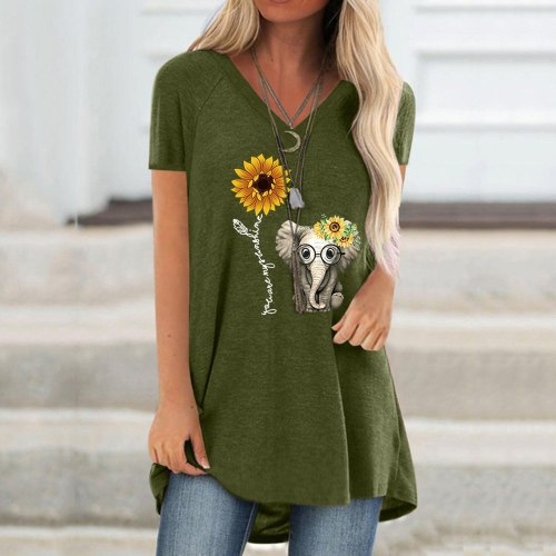 Women Tops Shirts Spring And Summer 2021  Pullover V-neck Print Loose  Casual Black Green Short Sleeve Longer T-shirt