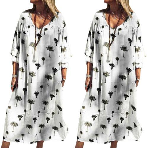 Fashion 4XL Loose Dress Women Summer 2021 Casual Printed Long White Dress Beach Party Holiday Sundress Vestido Feminino