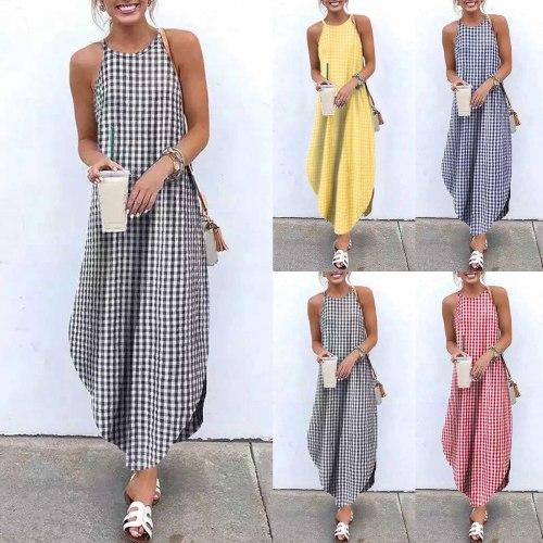 Summer Plaid Print Long Dress Women Plus Size 5XL Halter Dress Women Casual Loose Sleeveless Maxi Dress Boho Beach Dress Vestido