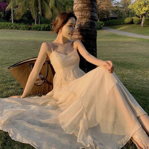 2021 French Super Fairy Vacation Beach Skirt Female Hainan Sanya Tourism Sexy Halter Strap Ruffle Dress