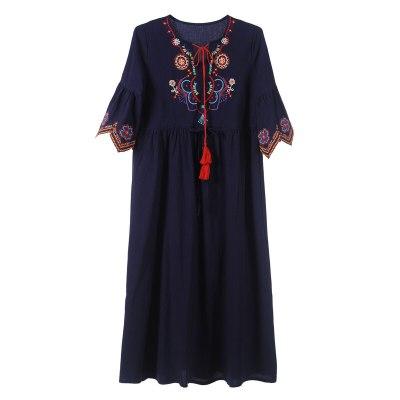 Ethnic Embroidery Lace Up Dress Women Summer Flare Sleeve Drawstring Vestidos Ladies Boho Beach Casual Midi Dress Femme Robe
