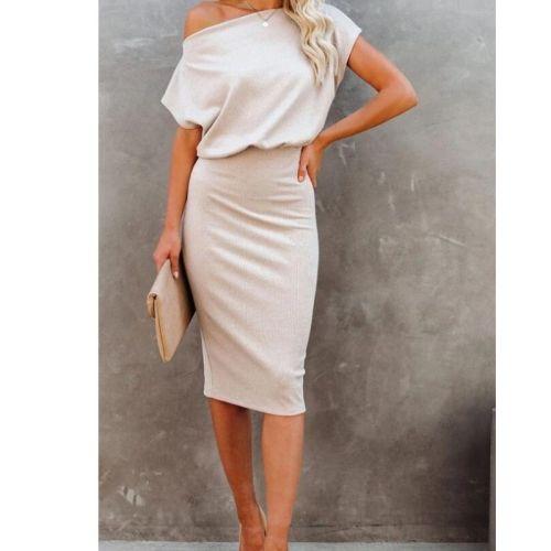 Sexy Vintage Slash Neck Dresses For Women 2021 Vestido De Mujer Verano Casual Summer Short Sleeve Dress Robe Femme