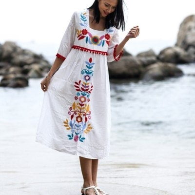 Vintage Women Bohemian Holiday Floral Embroidery Loose Midi Dress Linen Cotton Short Sleeve Boho Chic Dress Summer Vestido 21189