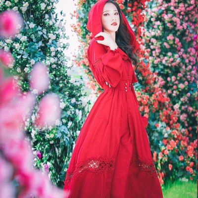 20121Fashion Hooded Dress Women's Elegant Long Sleeve Lace Patchwork Wine Red Vintage Party Dresses Vestidos