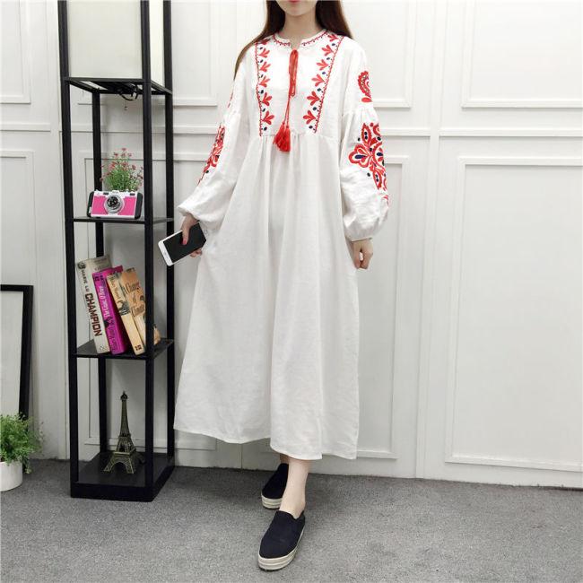Vintage Tassel Embroidery Dresses Loose Long Lantern Sleeve A-Line Dress Cotton Linen Vestidos Bohemian