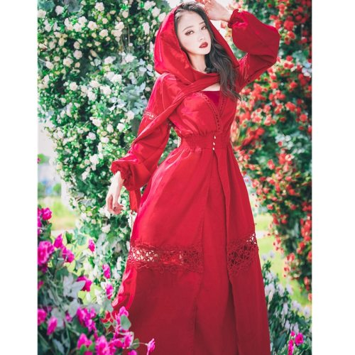 20121Fashion Hooded Dress Women's Elegant Long Sleeve Lace Patchwork Wine Red Vintage Party Dresses Vestidos