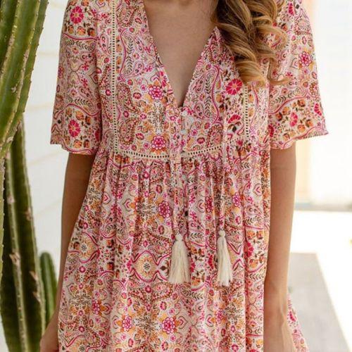 2021 Summer Women's Bohemian Print Short Sleeve Dress Outdoor Vacation Cool Sexy Loose Beach Dress