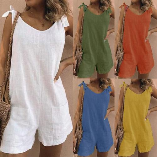 2021 summer Women's Jumpsuit Solid Color Sleeveless Adjustable Straps Pockets Loose Jumpsuit Dungarees Short Pants Jumpsuits